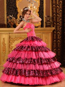 New Sweetheart Hot Pink and Zebra Sweet 16 Dress with Layers and Appliques