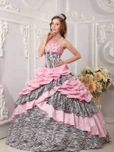 Pink and Zebra Strapless Quinceanera Gown Dress with Pick-ups and Beading
