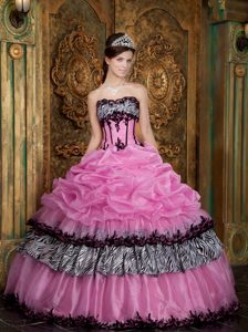 Pretty Rose Pink Strapless Zebra Quinceanera Dress with Layers and Pick-ups
