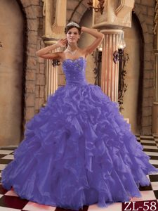 Purple Sweetheart Organza Long Beaded Sweet 16 Dresses with Ruffles