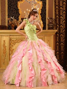 One Shoulder Multi-colored Ruched Flounced Quinceanera Dress with Ruffles