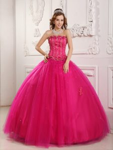 Hot Pink Strapless Tulle Quinceanera Gown Dress with Appliques on Promotion