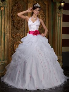 Halter White Organza Beaded Quinceanera Dress with Pick-ups and Red Flower