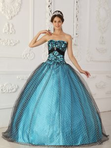 Cheap Black and Blue Strapless Ball Gown Quinceanera Dress with Appliques