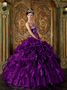 Strapless Eggplant Purple Organza Appliqued Quinceanera Dress with Ruffles