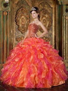 Multi-colored Strapless Organza Quinceanera Dress with Beading and Ruffles