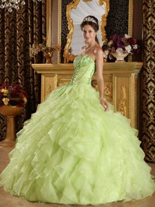 Yellow Green Strapless Organza Quinceanera Dress with Appliques and Ruffles