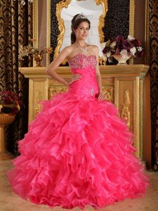 Sweetheart Hot Pink Ruched Organza Sweet 16 Dress with Ruffles and Beading