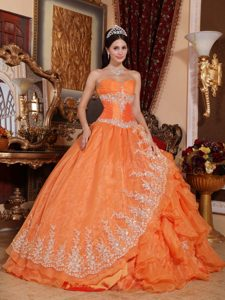 Orange Sweetheart Ruched Organza Sweet 16 Dress with Ruffles and Appliques