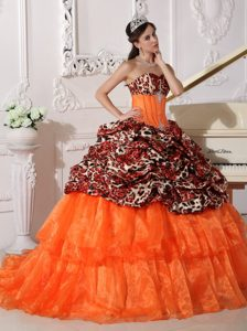 Sweetheart Brush Train Orange and Leopard Quinceanera Dress with Pick-ups