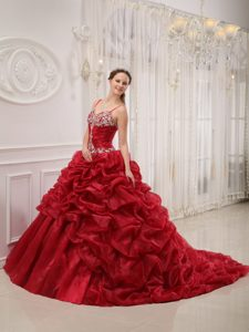 Spaghetti Straps Court Train Wine Red Appliqued Sweet 16 Dress with Pick-ups