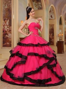Hot Pink Sweetheart Ruched Organza Appliqued Quinceanera Dress with Layers
