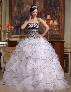White and Black Strapless Organza Sweet 16 Dresses with Ruffles and Beading