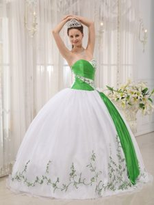 Chichi Green and White Organza Ruched Quinceanera Dress with Embroideries