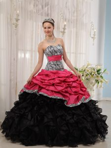 Zebra Multi-colored Quinceanera Dresses with Pick-ups and Ruffles for Cheap
