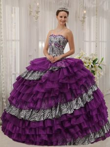 Strapless Ball Gown Purple and Zebra Quinceanera Dress with Layered Ruffles