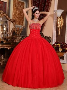 Hot Red Strapless Ball Gown Tulle Quinceanera Dress with Appliques for Cheap