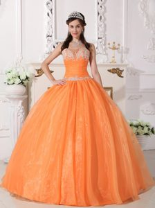 Orange Strapless Organza Sweet 16 Gown Dress with Appliques on Promotion