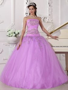 Strapless Lavender Ruched Tulle Quinceanera Dresses with Appliques for Cheap