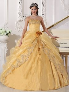 Gold Strapless Organza Appliqued Sweet 16 Dress with Pick-ups and Flowers