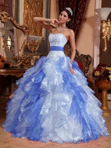 Sweetheart Multi-colored Organza Sweet 16 Dresses with Ruffles and Beading