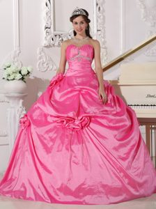 Hot Pink Sweetheart Beaded Quinceanera Dresses with Pick-ups and Flowers