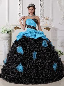 New Strapless Ruched Ruffled Blue and Black Quinceanera Dress with Beading