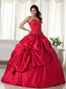 Wine Red Sweetheart Ball Gown Sweet 16 Dress with Pick-ups for Less