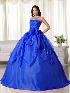 Sky Blue Strapless Layered Organza Sweet 16 Dress with Beading and Flower