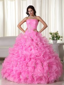 Rose Pink Strapless Organza Appliques Decorated Quinceanera Dress for Cheap