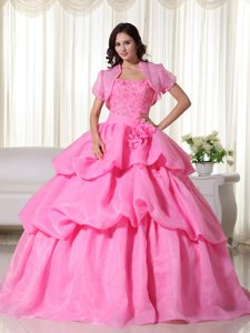 Rose Pink Strapless Organza Quinceanera Gown Dress