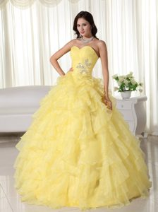 Light Yellow Sweetheart Organza Quinceanera Dress with Appliques for Cheap
