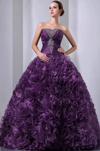 Purple Strapless Organza Quinceanea Dress with Beading and Hand Made Flower