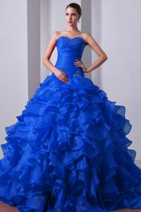 Blue Sweetheart Brush Train Organza Beaded and Ruffled Quinceanea Dresses