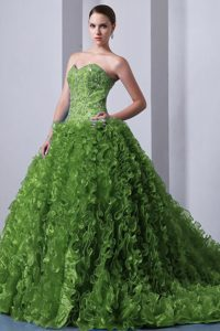 Olive Green A-line Sweetheart Beaded and Ruffled Quinceanea Dress for Girls