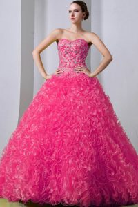 Hot Pink Sweetheart Brush Train Quinceanea Dress with Beading and Ruffles