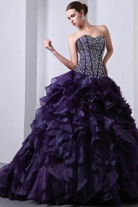 Purple Sweetheart Brush Train Organza Beaded and Ruffled Quinceanea Dress