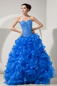 Blue A-line Sweetheart Organza Beaded Quinceanera Gown Dresses with Ruffles