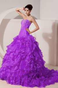 Purple Sweetheart Beaded Quinceanera Gown Dresses with Brush Train