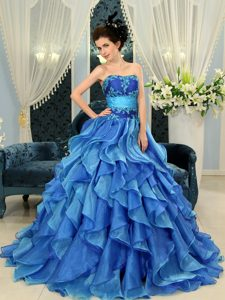 Blue A-line Organza Strapless Quinceanera Dress with Appliques on Promotion