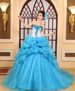 Fashionable Sweetheart Beaded Aqua Blue Chapel Train Quinceanera Gown Dress