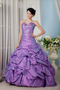 Lavender Sweetheart Quinceanera Gown Dress with Sequins and Pick-ups