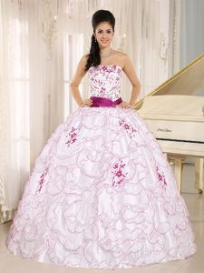 White Organza Strapless Quinceanera Dress with Embroidery Decorated in 2014