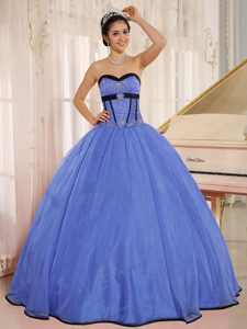 Special Blue Sweetheart Beaded Organza Quinceanera Dress on Wholesale Price