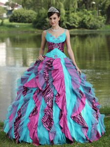 Organza Straps Colorful Quinceanera Dress with Ruffles and Beading in 2014