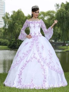 Wholesale Sweet 16 Quincenaera Dress with Square Neckline and Long Sleeves