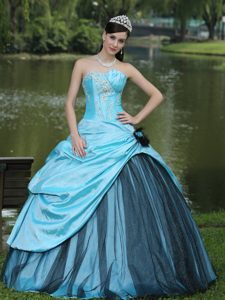 Blue Quinceanera Gown Dress for Custom Made