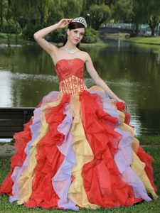 Sweet Appliques Ruffles Layered Colorful Quinceanera Gown Dress with Ruching