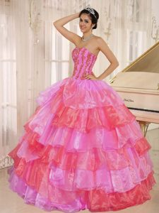 2013 Hot Pink and Red Quinceanera Dress with Ruffled Layers and Appliques