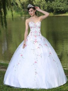 Sweetheart Organza Quinceanera Dress for Sweet 16 with Appliques Decorated